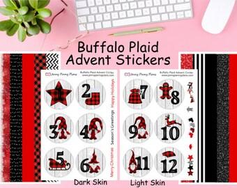 Buffalo Plaid Advent Circles for magnet tins