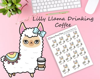 Lilly Llama Drinking Coffee, Planner Stickers.
