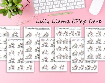 Lilly Llama CPAP Care (Sleep apnea) stickers printed on premium matte