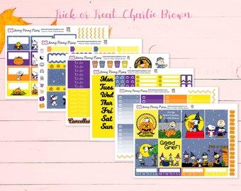 Trick-or-Treat, Charlie Brown Stickers on Premium Matte