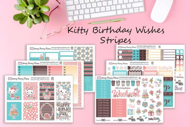 Kitty Birthday wishes in Stripes Planner Kit Printed on Full Kit - 6 Sheets