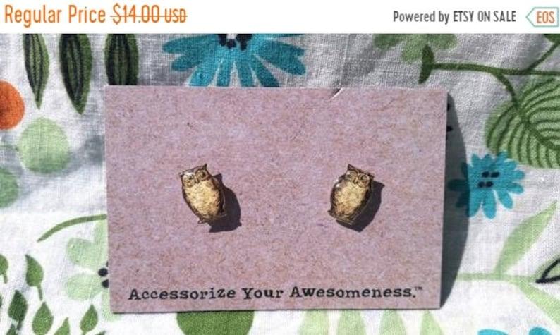 30% OFF SALE Owl Earrings image 0