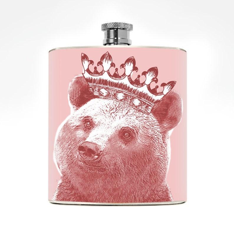 Bear Flask 6oz Drinking Gift Funny Humorous Ladies Animal Pet image 0