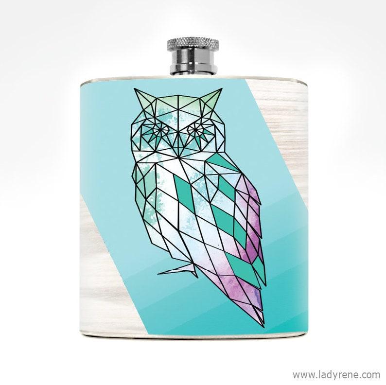 Owl Flask Liquor Drinking Gift Women's 6oz Stainless Steel image 0