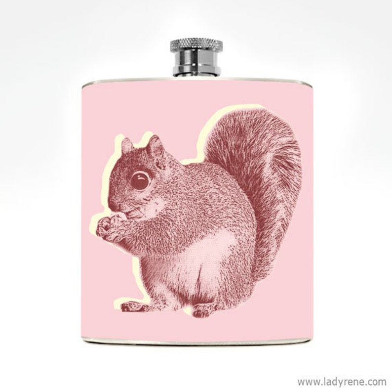 Hip Flask Squirrel Girls Gifts Cute Animal 6oz Drinking Ladies image 0