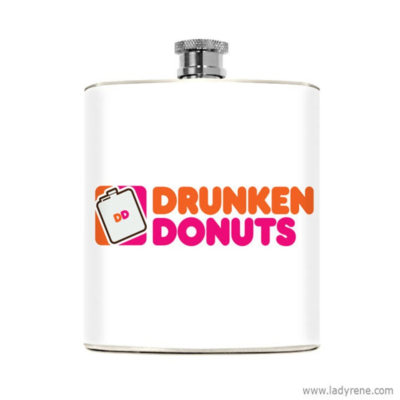 Flask for Women Funny Gag Gift Dunkin Donuts Drinking Humorous image 0