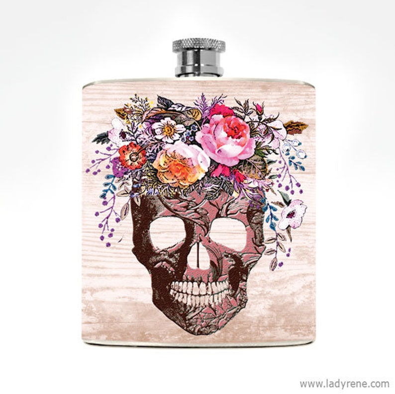 Flask Skull Womans Gift Bachelorette Mexican Drinking Flowers image 0