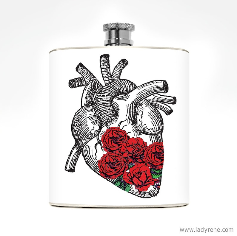 Anatomical Heart Gift Flask 6oz Stainless Steel Drinking Gift image 0