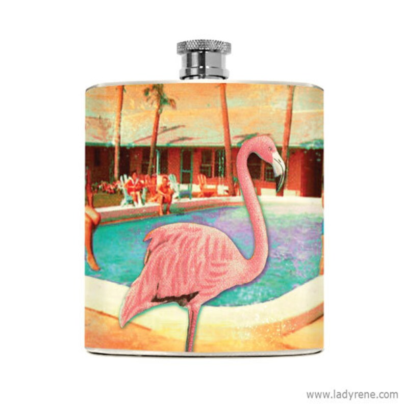 Flamingo Flask 6oz Stainless Steel Kitschy Drinking Gifts image 0
