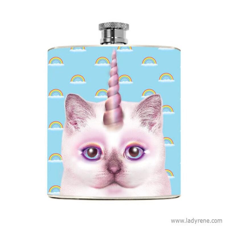 Cat Flask Gift Unicorn Kitty Party Nerdy Funny Humorous image 0