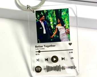 Spotify Keychain with Photo UV Printed on acrylic. Not Vinyl. Custom Song Keychain w/ scannable Spotify link QR code