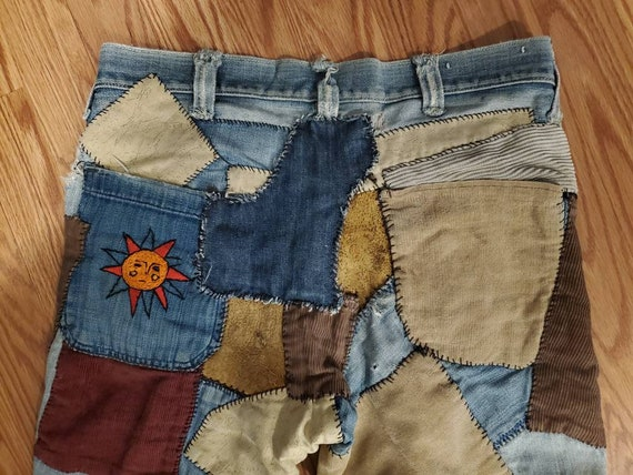 RARE 60's 70s Lee Patched/Patchwork Flared Jeans S