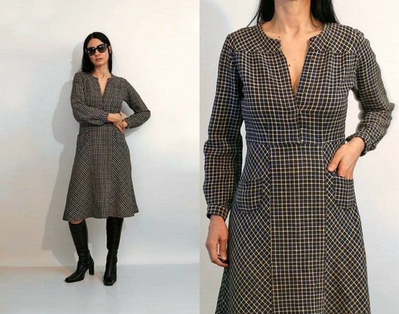 Vintage 1930's Grid Waffle weave Cotton Dress / Vi