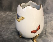Limoges Porcelain Footed Egg Vase With Butterflies Gold Trim