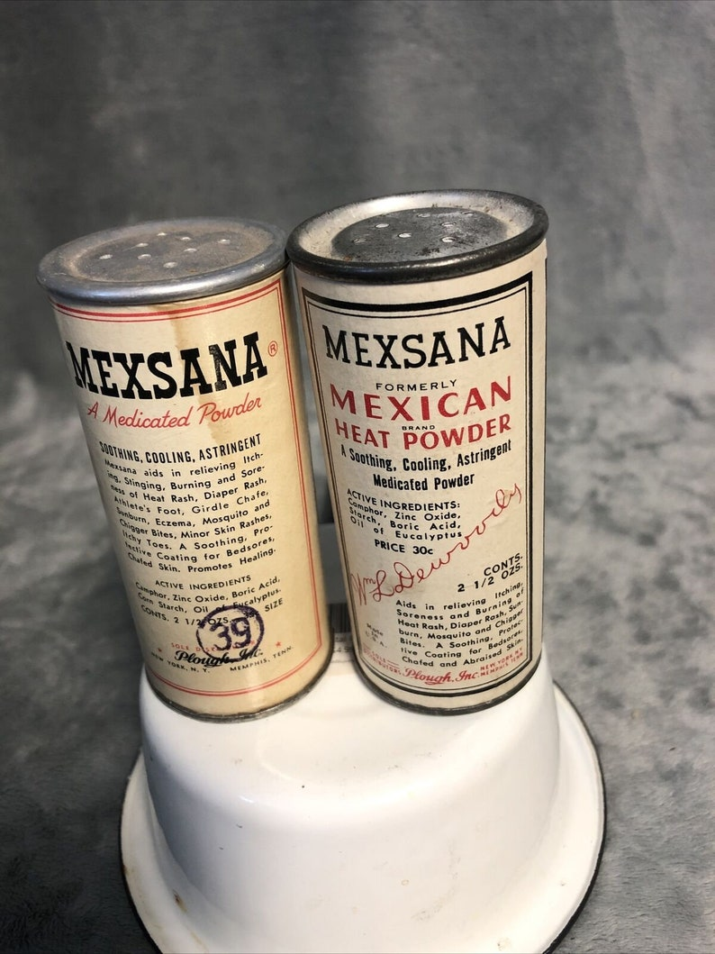 Lot of 2 Vintage Mexsana Heat Powder Tin Can 3.75\u201d Tall 2.5 oz Size