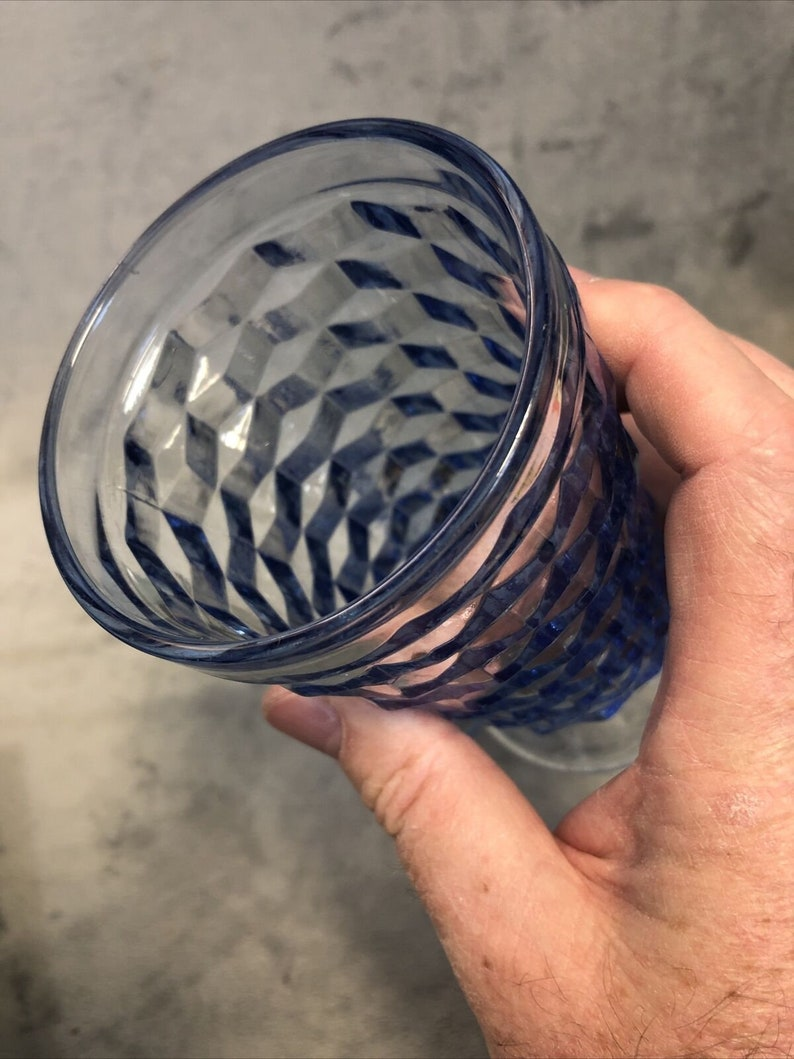 Lot Of 2 Whitehall Purple Tumbler Ice Tea Cubic Fostoria Indiana Colony Glass