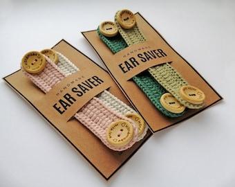 Crocheted ear savers cotton face mask extenders handmade mask holder knitting ear savers for face masks