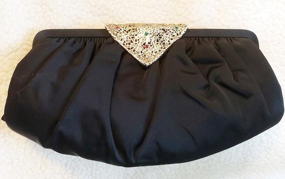 1950s Elegant Black Clutch Bag
