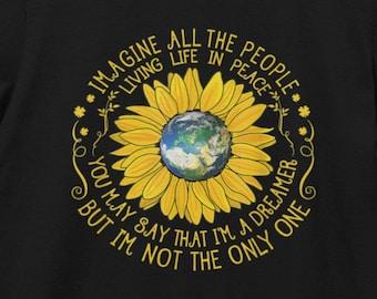 THE BEATLES SONG T-shirt | John Lennon Imagine Lyrics | Eco Friendly 100% Cotton | Unisex Jersey Tee