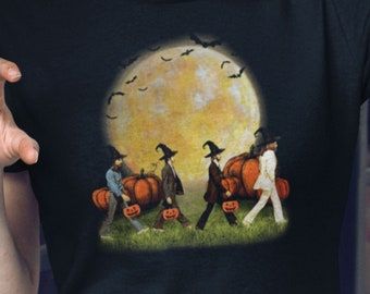 The Beatles Abbey Road Album Halloween Pumpkins T-Shirt, Full Moon and Bats Tee, John Lennon Paul McCartney Ringo Starr Tee