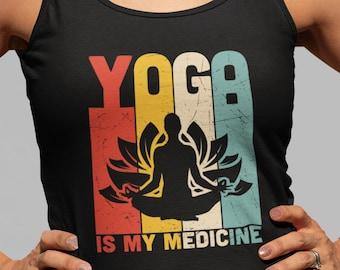 YOGA Is My Medicine Tank Top, Vintage Retro Meditation Colors Shirt, Eco Friendly Zen Workout Tank