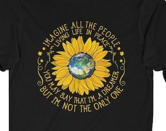 THE BEATLES SONG Long Sleeve Shirt | John Lennon Imagine Lyrics | Eco Friendly 100% Cotton | Unisex Jersey Tee