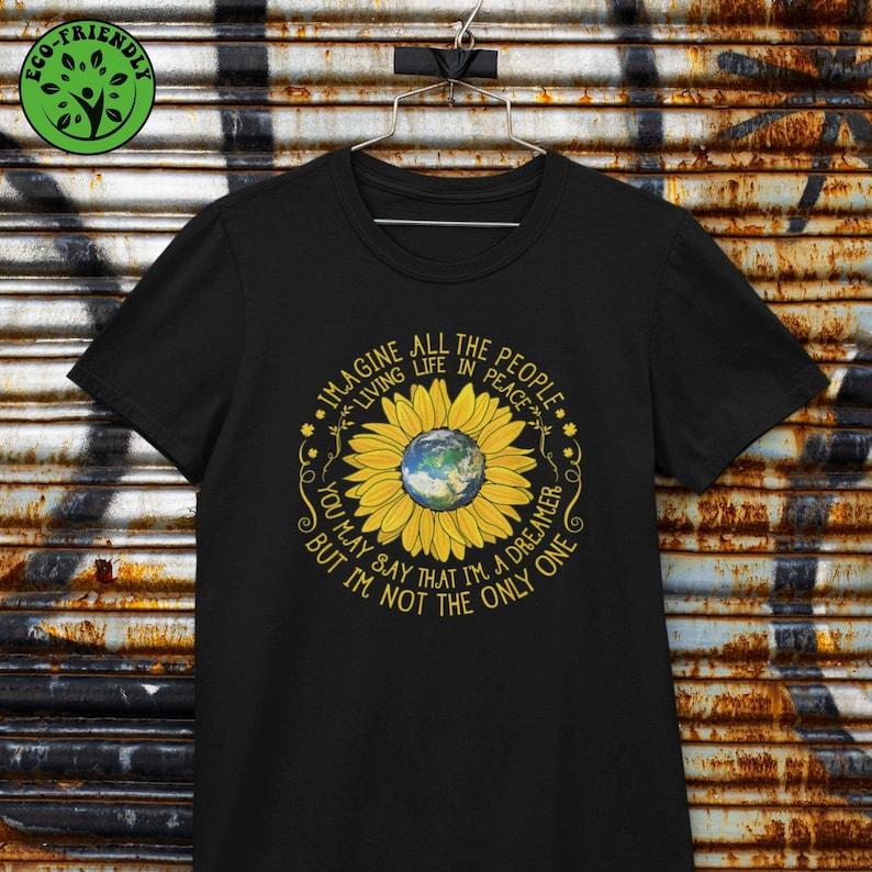 THE BEATLES SONG T-shirt  John Lennon Imagine Lyrics  Eco image 1