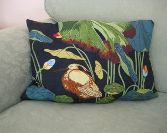 GP/&J Baker Nympheus Stork Birds Cotton /& Blue Velvet Fabric Cushion Cover