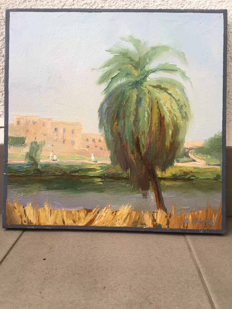 oil painting on canvas original painting by Ukrainian artist V 2018 Samchuk Canals of the Nile Egypt