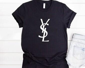 db240842771 Yves Saint Laurent TShirt, Saint Laurent Logo Shirt, Ysl Mens Womens Youth T -shirt, Laurent Unisex Shirt, Ysl Inspired, Designer Tshirt