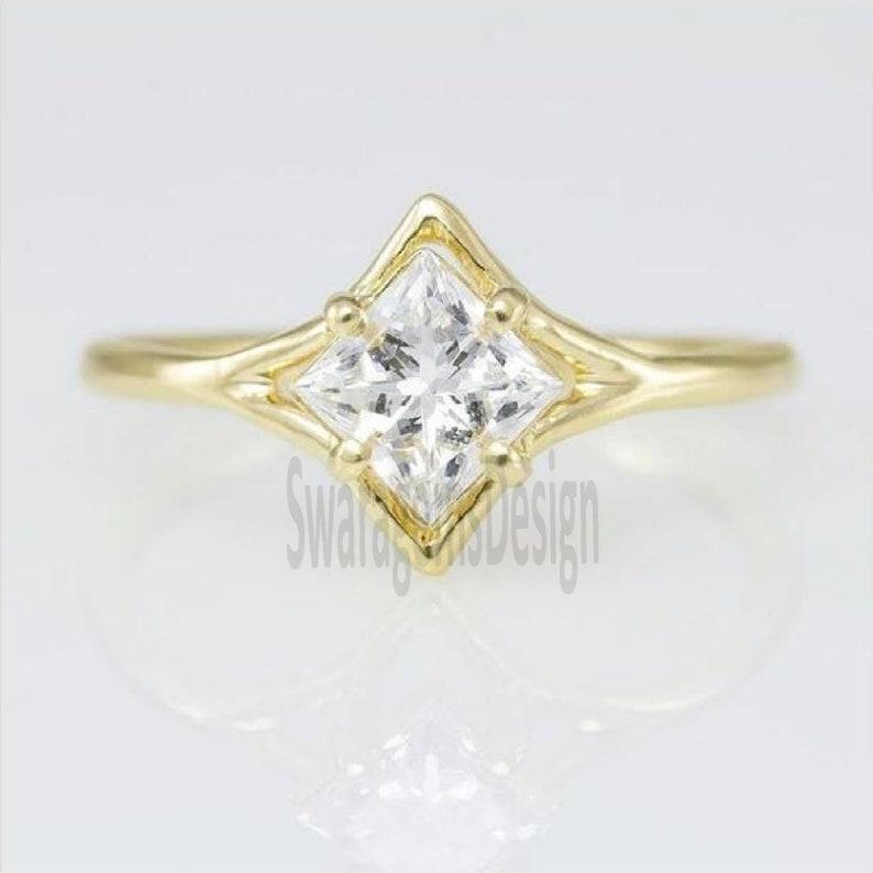 1.18 Ct Princess Cut Lab Diamond Engagement Ring 14K Yellow Gold Solitaire Diamond Wedding Ring Prong Set Promise Ring