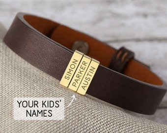 Dad Gift, Dad Bracelet, Dad Bracelet With Kids Names, Dad Gift From Daughter, Dad Gift From Wife, Dad Customized Bracelet, Dad Leather Gift