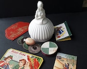 The Sewing Lady Victorian Lady Hoop Skirt vintage sewing caddy with additional vintage items
