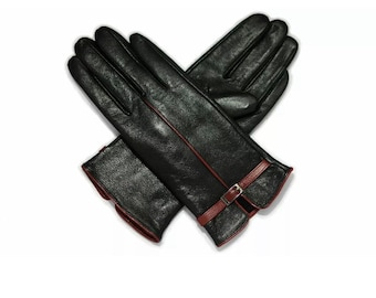 Ladies women Real sheep soft leather pipped Details winter gloves