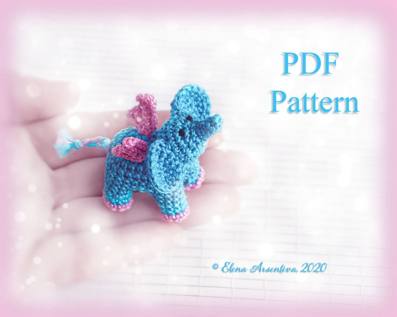 PDF Pattern. Crochet magic mini elephant. Amigurumi animal. image 0
