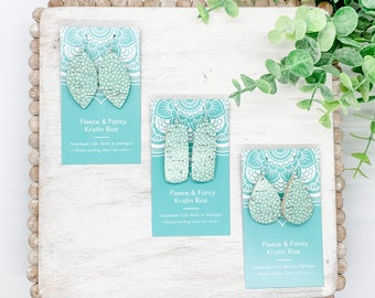 Mini Handmade Sea Green Dot Earrings