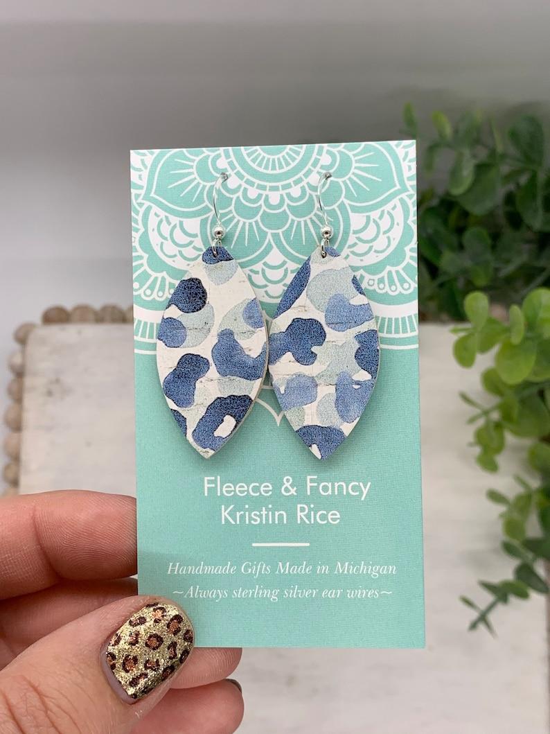 Mini Handmade Blue Leopard Cork Earrings