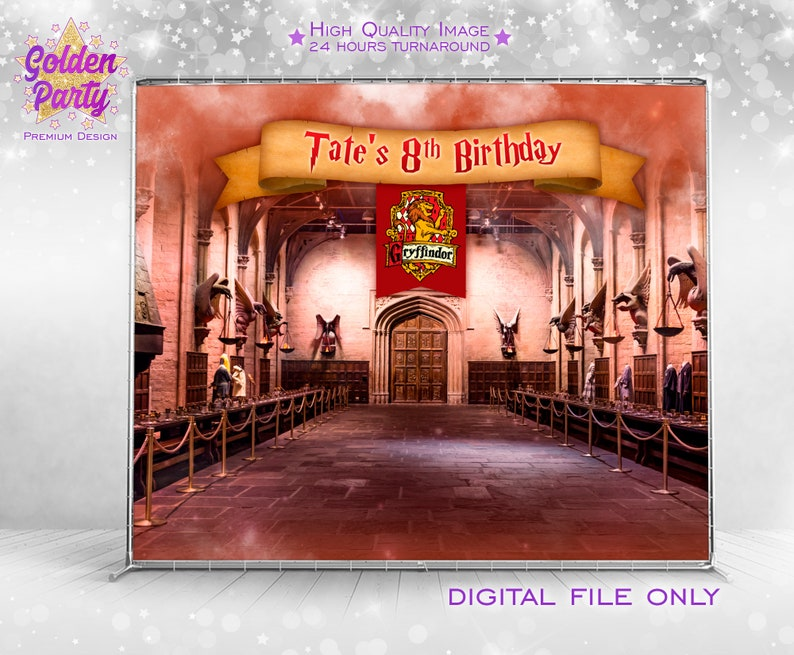 graphic regarding Harry Potter Decorations Printable called Harry potter Backdrop, Printable Backdrop wizard Birthday, harry potter decoration, harry potter banner, Hogwart social gathering Banner, Gryffindor