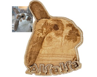 Personalized Rabbit Engraving  with Pet's Name laser cut into the unique shape