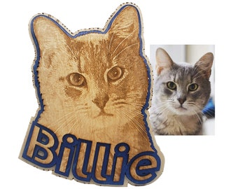 Personalized Cat Engraving with Pet's Name laser cut into the unique shape