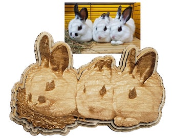 Personalized Bunny Engraving laser cut into the unique shape of the image