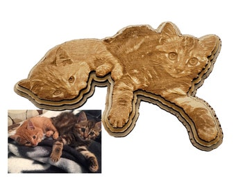 Personalized Kitten Engraving laser cut into the unique shape of the image