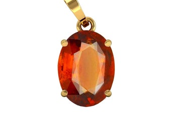 Birthstone Jewelry Natural Certified Garnet Gemstone Astrology Copper Pendant with Mantra Birthstone Pendant Hessonite Garnet Pendant