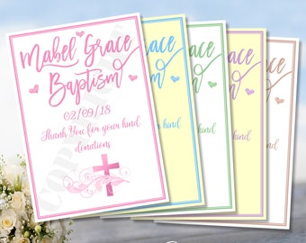 ❤️Personalised christening Card Post Box Sign Girl Boy Pink Blue