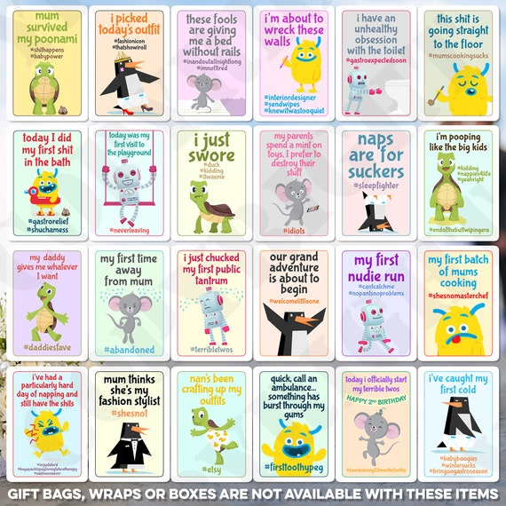 26 x Baby Milestones Unisex Boy Girl Designs Favours Keepsakes Hashtag Photo Picture Shower Party Insta Face Year Funny Joke Kids Cards A6