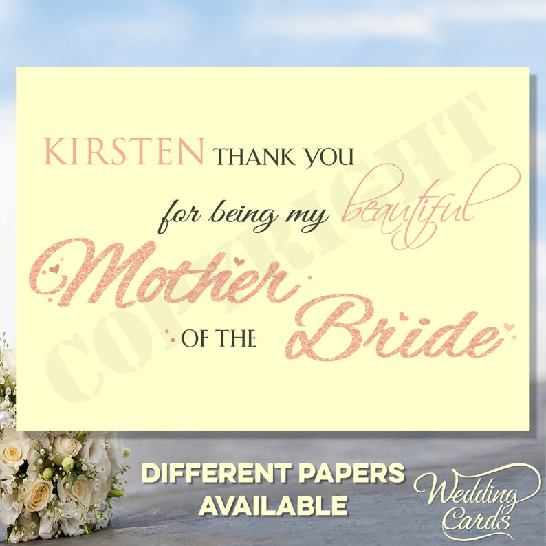 Thank you for being my beautifulwonderful MotherFather of the BrideGroom ParentsGrandparents Wedding Personalised Invite Invitation Card