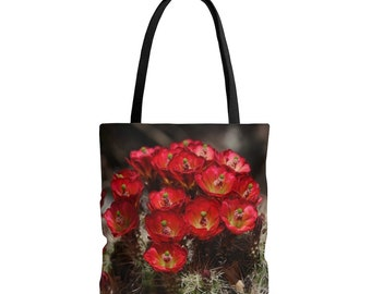Tote Bag - Red Cactus Flowers