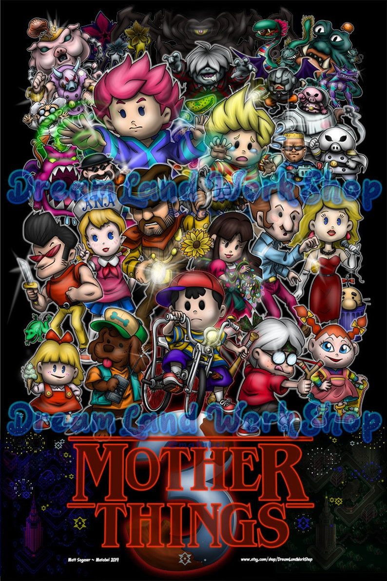Mother Things 3 - Inspired by Earthbound + Stranger Things (Unframed Paper  Poster Print)