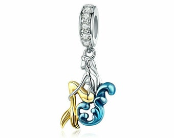 64e55e298fd Mermaid Silver Charm Genuine 925 Sterling Silver Charm Bead Pendant Fits Pandora  Bracelet Necklace Bangle for Women Her Gift