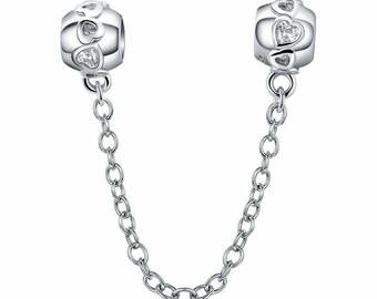 498881c9d Love Heart Safety Chain — Genuine 925 Sterling Silver Charm — Fits European  & Pandora Bracelet Necklace Bangle for Women, Girl, Gift